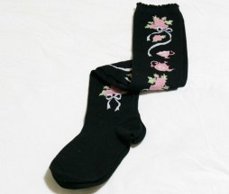 BtSSB Tea and Roses Black Over Knee Socks