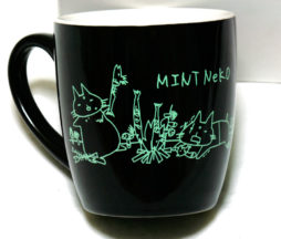 Sixh. Mint Neko Mug (Black)