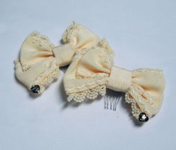 Angelic Pretty Ivory Heart Logo Hair Combs