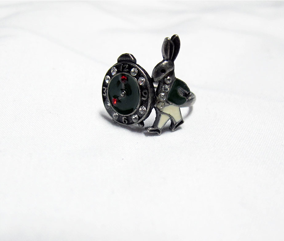 Alice's White Rabbit Ring