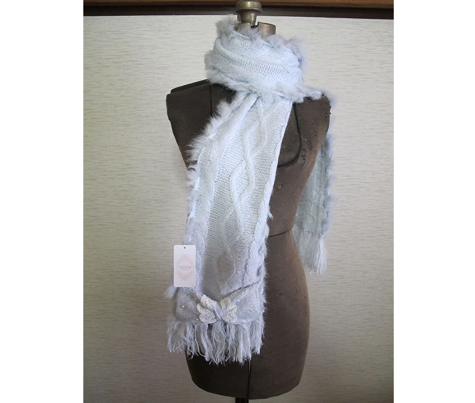 Liz Lisa Cable Knit Double Ribbon Scarf
