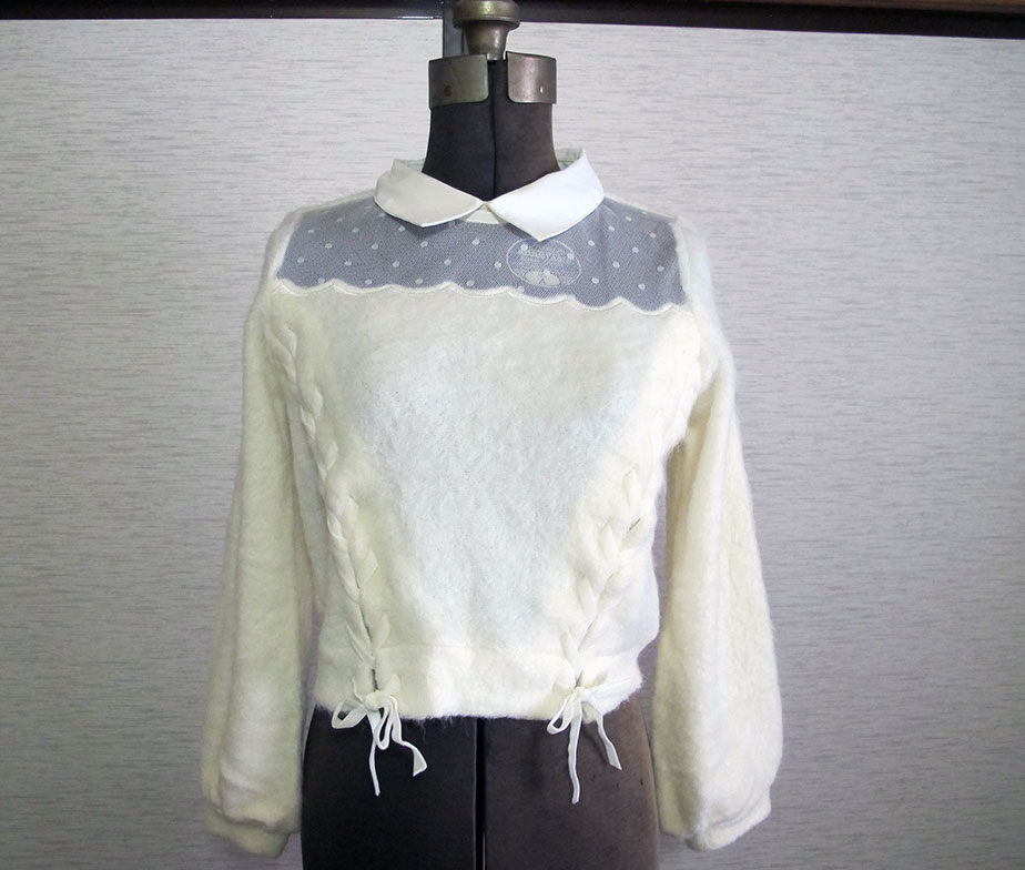 Liz Lisa Lace Up Shaggy Knit Sweater