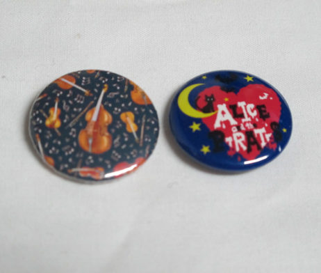 Alice and the Pirates Violin and Cat Moon Logo Pin Set