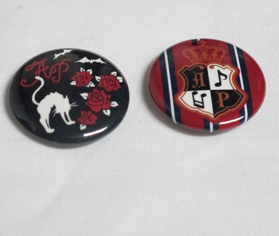Alice and the Pirates Crest and Cat with Roses and Bats Pin Set