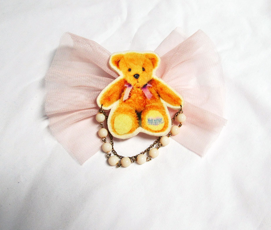 Bear Tulle Ribbon Brooch/Hair Clip