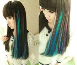 Brightlele Wigs Rainbow Clip In Color Strands