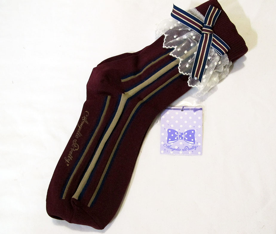Angelic Pretty British Stripe Crew Socks Wine