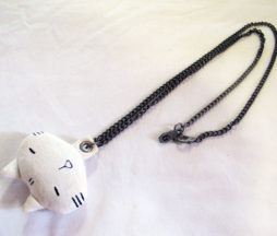 Mint Neko Plushie White Cat Necklace
