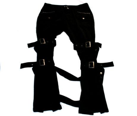 Black Peace Now Leg Strap Bondage Pants