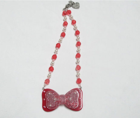 Angelic Pretty Red Glittery Ribbon Necklace