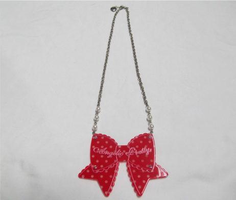 Angelic Pretty Dot Heart Ribbon Necklace