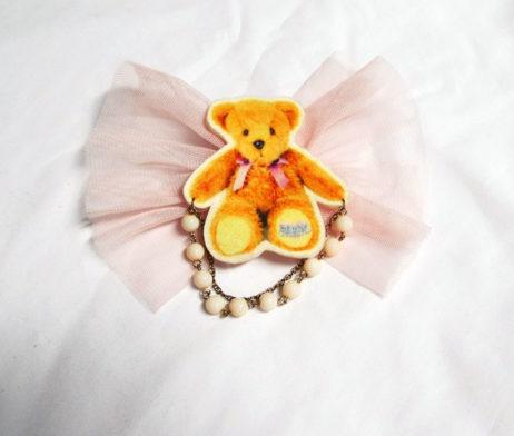 Bear Tulle Ribbon Brooch/Hair Clip