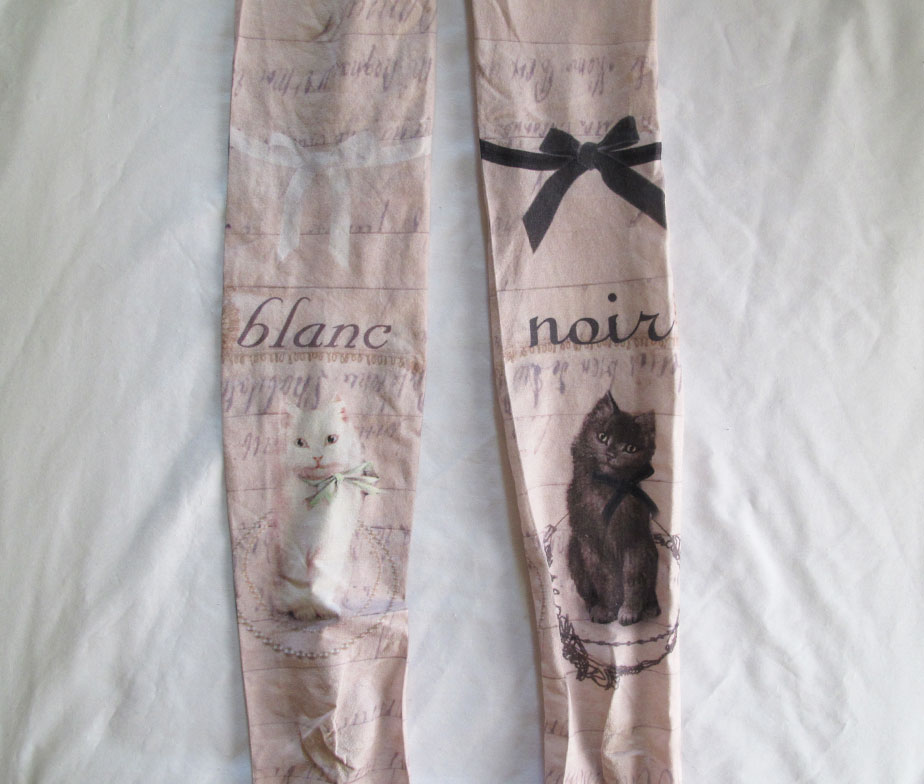 Grimoire Black and White Cat Tights