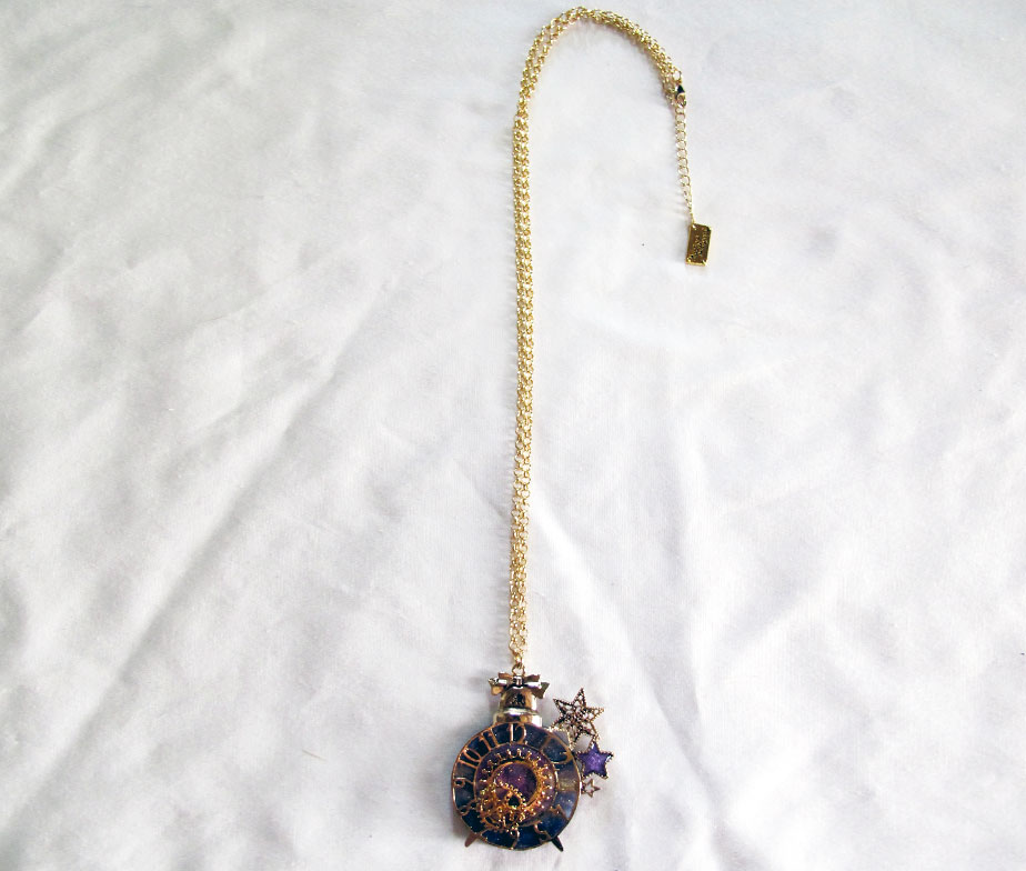 Alice and the Pirates Ticking Clock Stardust Gear Necklace